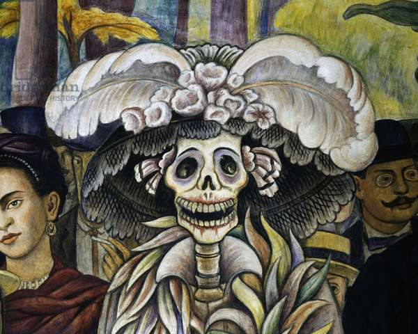 La Calavera Catrina (Catrina Skeleton), symbolic caricature of urban bourgeoisie and vanity, detail from Dream of a Sunday afternoon in Alameda Central Park, 1946-1947, by Diego Rivera, fresco from Hotel del Prado, Mexico City, Mexico, 20th century