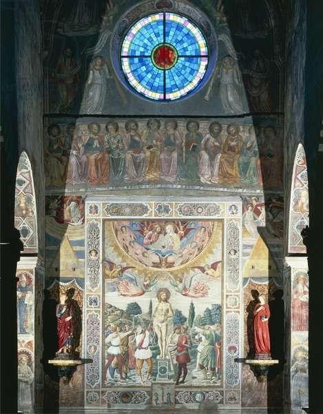 Martyrdom of St. Sebastian, 1464, by Benozzo Gozzoli (1420-1497), fresco, Collegiate Church of St. Mary of Assumption, San Gimignano (UNESCO World Heritage List, 1990), Tuscany, Italy, 15th century