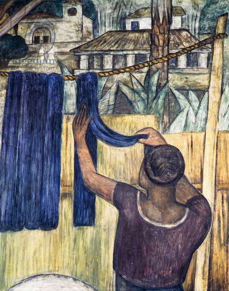 Woman hanging out the washing, 1923, fresco, by Diego Rivera (1866-1957). Mexico, 20th century.