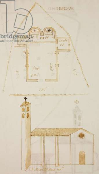 Plan and elevation of church of Saint Maurice, Erba, parish of Incino Erba, designed on occasion of visit of Carlo Borromeo, about 1574, Italy, 16th century