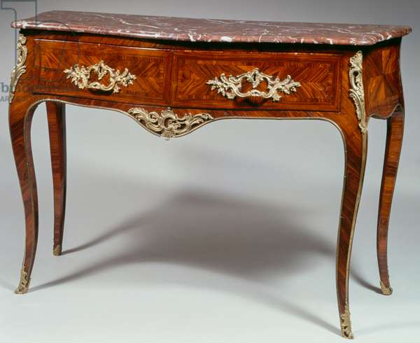 Louis XV commode, veneered with kingwood inlaid, marble top, two drawers, carved bronze and gilded ornaments, arched legs, stamped by L Boudin, 94x134x58cm, France, 18th century