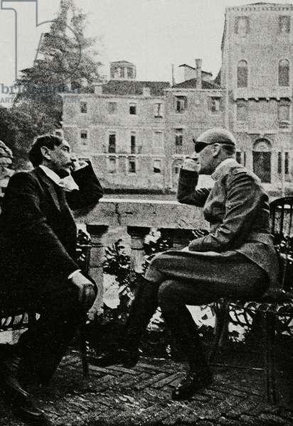 Maurice Barres (1862-1923) and Gabriele D'Annunzio (1863-1938) in Venice, Italy, from L'Illustrazione Italiana, Year XLIII, No 24, June 11, 1916