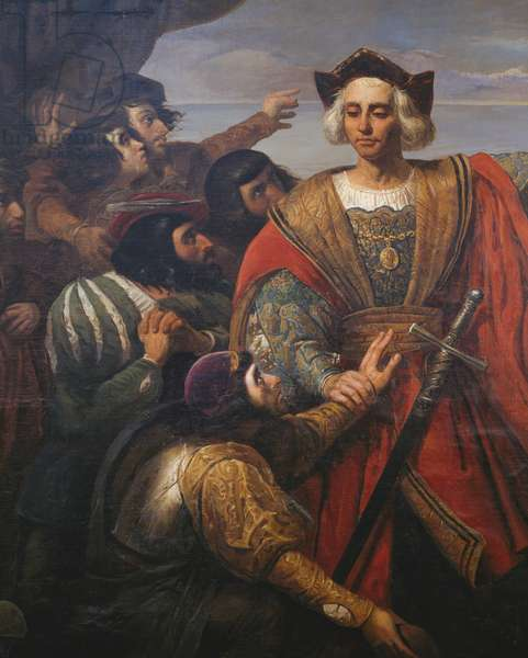 Christopher Columbus, surrounded by sailors on the deck of his caravel, sighting the island of San Salvador (October 12, 1492), 17th century French school painting