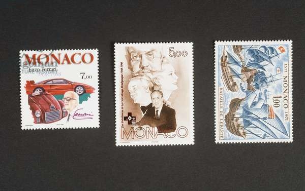Centenary of birth of Enzo Ferrari (1898-1988), 1998, postage stamp commemorating 50th anniversary of Red Cross of Monaco, 1998, Presidents (Louis II, Rainier III, Princess Grace and Prince Albert II), Monaco, 20th century