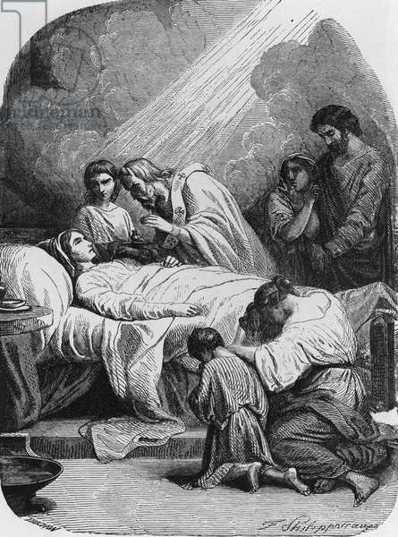 Anointing of Sick, illustration for Genius of Christianity, by Francois-Rene, vicomte de Chateaubriand (1768-1848), engraving by Felix Henri Emmanuel Philippoteaux (1815-1884), published by Bechet, 1859, Paris