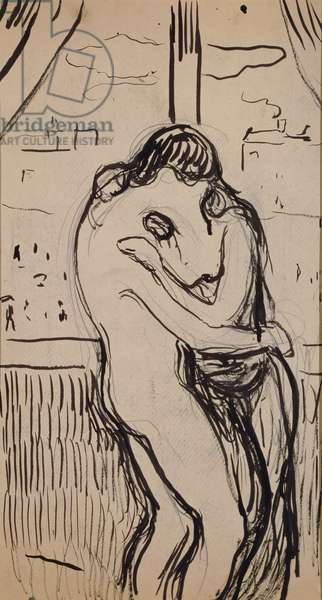 The kiss, 1894-1895, by Edvard Munch (1863-1944), pencil and ink drawing. Norway, 20th century.