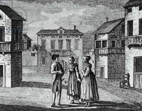 Illustration for public square, comedy by Carlo Goldoni (1707-1793), engraving, from Opere teatrali del sig avvocato Carlo Goldoni veneziano, published by Antonio Zatta e figli, 1789, Venice