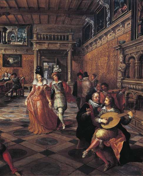 Italy, Turin, painting of dance at ball in flemish interior