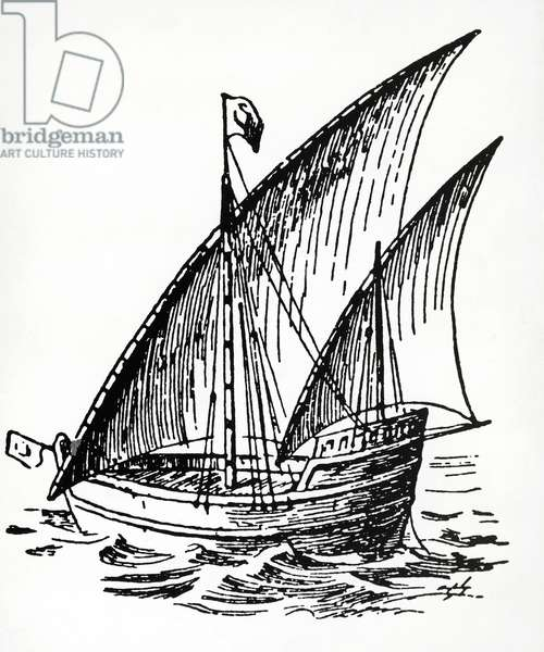 Portuguese caravel at the time of Bartholomew Diaz (1450-1500), engraving