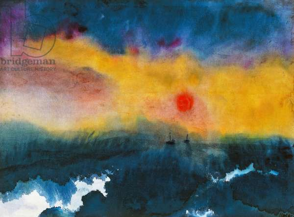 Sunset, 1940, by Emil Nolde (1867-1957), watercolour. Germany, 20th century.