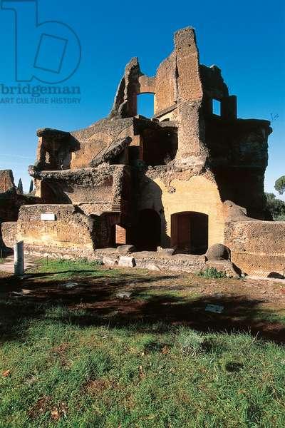 Tower-shaped summer triclinium or Greek Library, Hadrian's villa (UNESCO World Heritage List, 1999), Tivoli, Lazio, Italy, Roman civilization, 2nd century