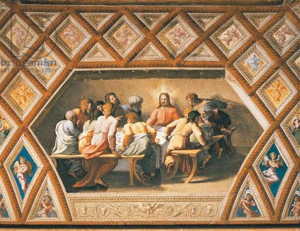 Last Supper, 1518-1519, workshop of Raphael (1483-1520), fresco, Raphael Loggias, Apostolic Palace, Vatican City