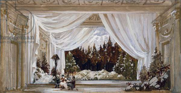 Set design by P Ricci for opera Andrea Chenier, by Umberto Giordano (1867-1948)