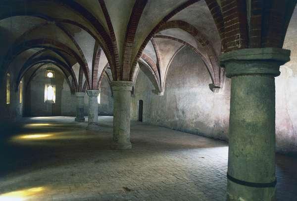 Inside guesthouse at Staffarda Abbey (12th century), Staffarda di Revello, Piedmont, Italy