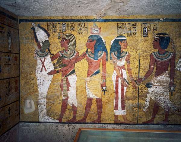 Tutankhamun and his ka in front of Osiris, detail from frescoes in burial chamber, Tomb of Tutankhamun, Valley of the Kings, Ancient Thebes, Luxor (UNESCO World Heritage List, 1979), Egypt, XVIII Dynasty, 1347-1338 BC