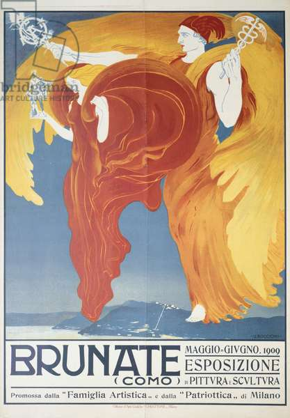 Poster for exhibition of painting and sculpture in Brunate by Umberto Boccioni (1882-1916), chromolithograph, 70x50 cm, 1909