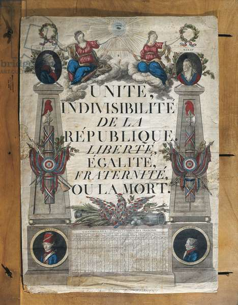 France, Paris, Unity, Indivisibility of the Republic, Liberty, Equality, Fraternity or Death, print