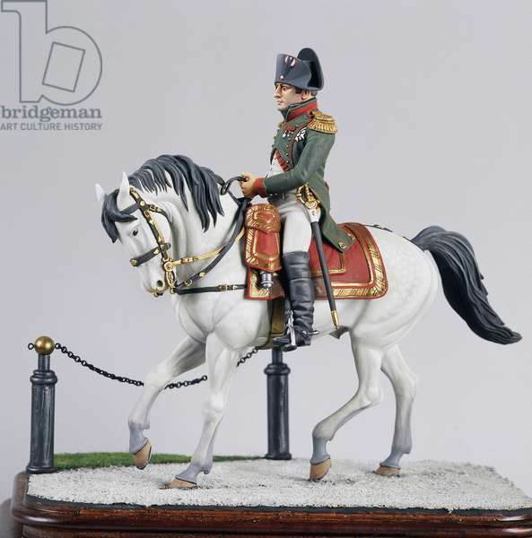 Napoleon Bonaparte (1769-1821) on horseback, 9 cm, toy soldier from Napoleonic era, France, 19th century