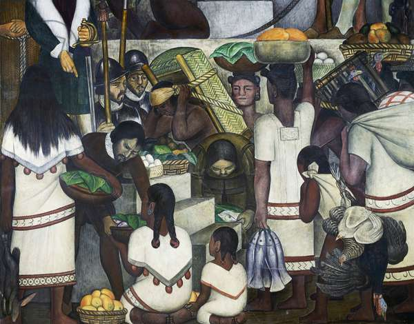 The market in Cuernavaca, detail from the History of Cuernavaca and Morelos frescoes, 1929-1930, by Diego Rivera (1886-1957), Palace of Cortes, Cuernavaca, Mexico. 20th century.