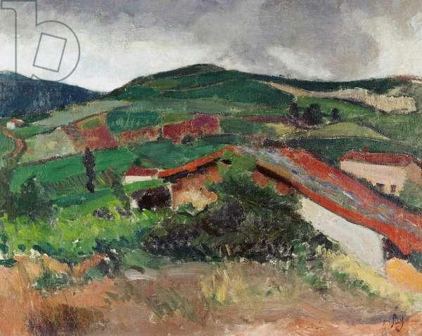 Saint-Alban-les-Eaux landscape, by Jean Puy (1876-1960), oil on canvas, 74x94 cm. France, 20th century.