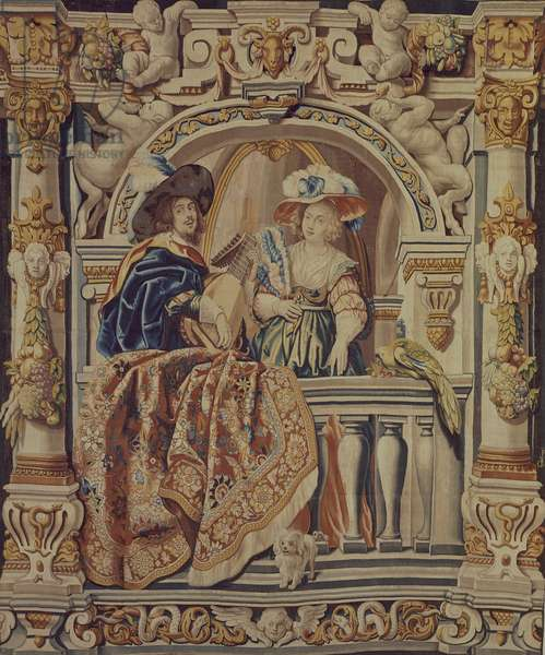 Knight Playing Lute with Lady, 17th century tapestry woven in Brussels after designs by Jacob Jordaens, from the series Scenes of Country Life.
