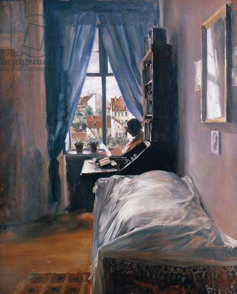 The Artist's bedroom in the Ritterstrasse (Das Schlafzimmer Des Kunstlers), 1847, by Adolph Menzel (1815-1905), oil on cardboard.