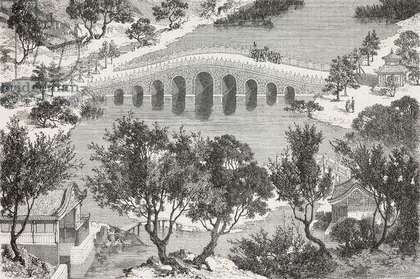 Khio-Yuen-fung-I, or Courtyard of refreshments, Summer Palace, drawing by Emile Therond (1821-?) from a Chinese painting, from Visit to the Old Summer Palace by Guillaume Pauthier (1801-1873), Beijing, China