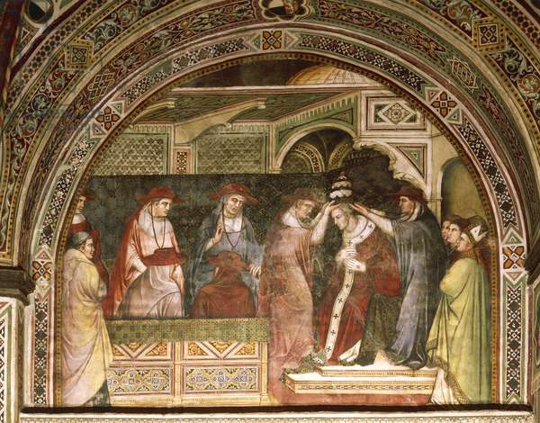 Coronation of Alexander, scene from Stories of Alexander III, 1407-1408, by Spinello Aretino (ca 1350-1410), fresco, Priory Room, Public Palace, Siena (UNESCO World Heritage List, 1995), Tuscany. Detail. Italy, 15th century.