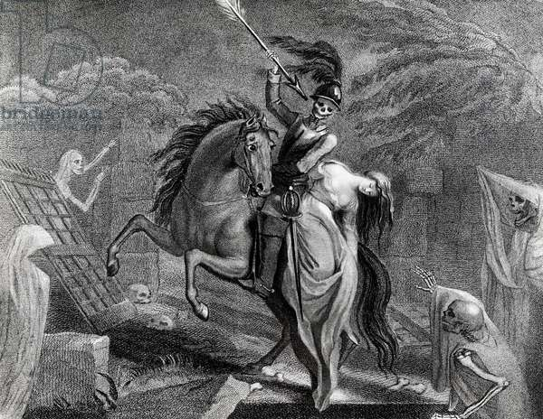 Lenore riding with Death, illustration for the poem Lenore by Gottfried Augustus Burger (1747-1794), drawing by Diana Beauclerk (1734-1808) for the 1796 edition published by Harding Pall Mall