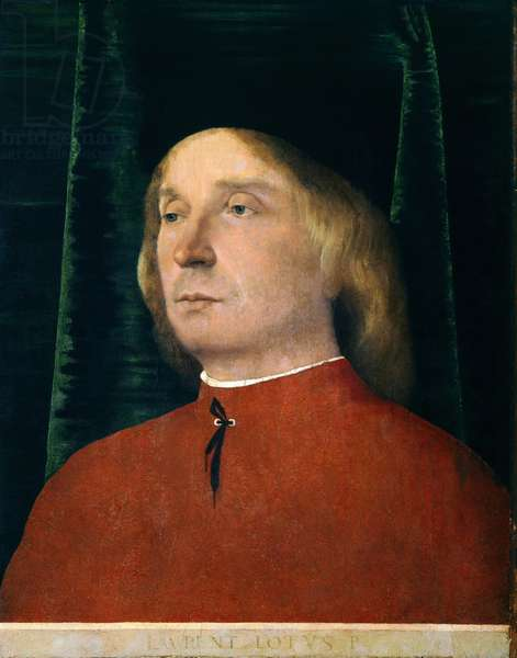 Portrait of young man in red suit by Lorenzo Lotto (1480 circa- 1556), oil on panel, 40x32 cm, 1500-1505