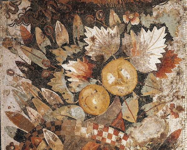 Floor mosaic with arrangement of leaves and fruit, from Pompeii, Italy