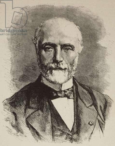 Portrait of French statesman Charles de Freycinet (1828-1923), engraving from L'IIllustrazione Italiana, no 6, February 5, 1882