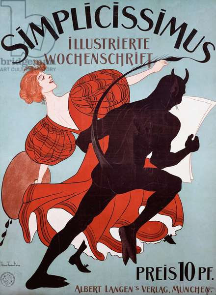 Simplicissimus advertising poster, 1896, satirical weekly by Albert Langen Publishing House, illustration by Theodor Thomas Heine (1867-1948), Munich, Germany, 20th century