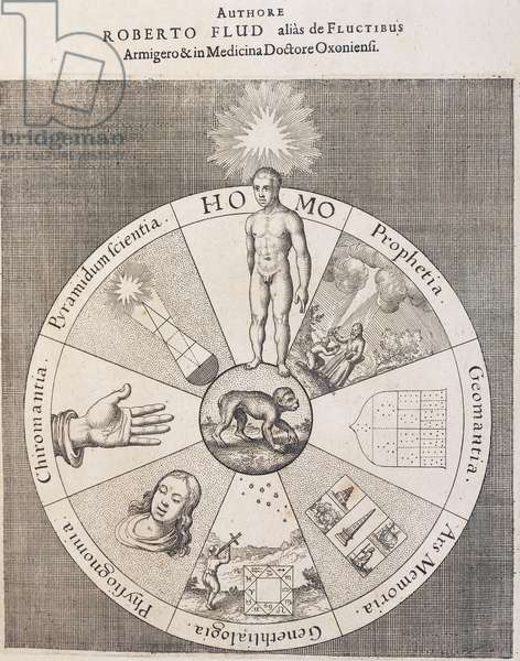 Title page of The technical microcosm of history, The Metaphysical, Physical and Technical History of both Major and Minor Worlds, by Robert Fludd, Oppenheim, 1617-1624, detail, 17th century