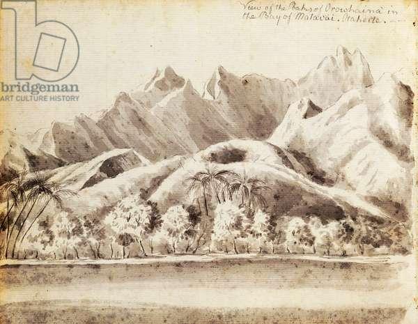 View of peak Orohena in bay of Matavai, Island of Tahiti, discovered by Samuel Wallis in 1769, engraving