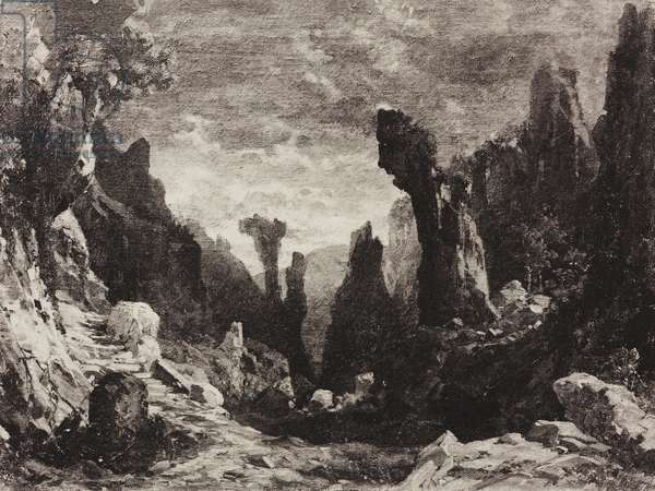 Wild desert valley, night of the Sabbath, sketch for Act II, Scene V of the opera Mefistofele by Arrigo Boito, Season 1868, from 500 stage design sketches in five volumes, 1919, by Carlo Ferrario (1833-1907).