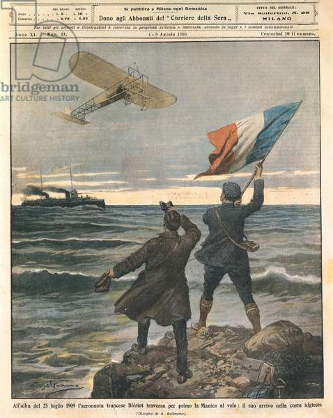 French aviator Louis Bleriot, first person crossing English Channel, celebrations on English coast, July 25, 1909, illustration by Achille Beltrame from La Domenica del Corriere, August 1-8, 1909