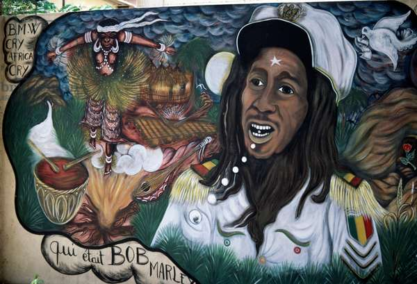 Who was Bob Marley, mural painting, Dakar, Senegal