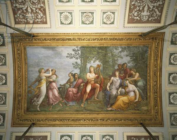 Parnassus, 1811, fresco by Andrea Appiani (1754-1817), vault of Parnassus room, Royal Villa, Milan, Italy, 18th century
