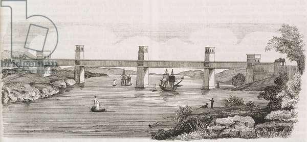 Railway bridge, Britannia bridge, over Menai Strait, Isle of Anglesey, Wales, United Kingdom, engraving from L'album giornale letterario e di belle arti, May 18, 1850, Year 17
