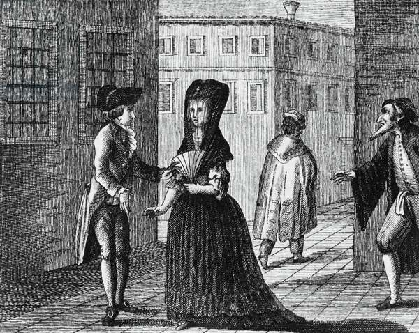 Illustration for Inquisitive women, comedy by Carlo Goldoni (1707-1793), engraving, from Opere teatrali del sig avvocato Carlo Goldoni veneziano, published by Antonio Zatta e figli, 1791, Venice
