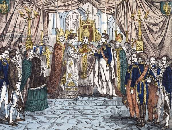 The marriage of Napoleon III and Eugenie de Montijo in 1853, print. France, 19th century.