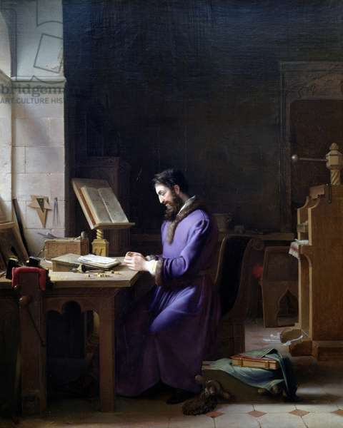 Gutenberg inventing printing press, circa 1830, by Jean Antoine Laurent (1773-1832)