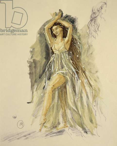 Costume sketch for a dancer for Oberon, by Carl Maria von Weber (1786-1826).