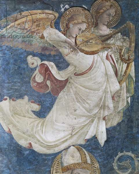 Angel musicians, by Spinello Aretino (1350 or 1352-1410), fresco, Church of San Domenico, Arezzo, Tuscany. Italy, 15th century.