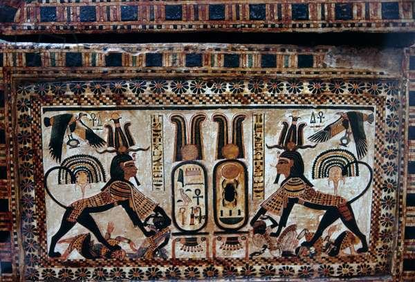 Tutankhamun depicted as sphinx trampling enemies of Egypt, painted casket with war scenes, Treasury of Tutankhamun, Egypt, Egyptian civilization, New Kingdom, Dynasty XVIII