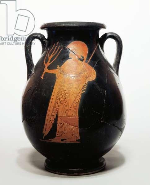 Black pelike attributed to the Syleus Painter depicting Athena, 6th century B.C.
