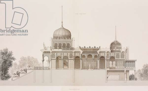 Longitudinal section of Neo-Moorish pavilion designed by Alfred Chapon for 1867 Paris World's Fair (Exposition Universelle), France, engraving from Revue generale de l'architecture et des travaux publics, by Cesar Daly, 1869, Paris