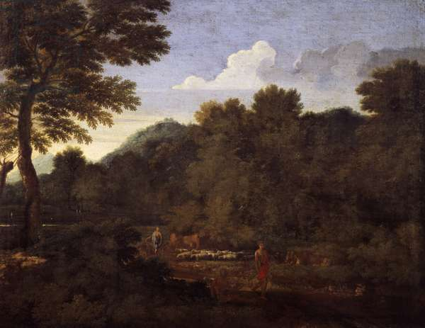 Landscape with flock of sheep, by Gaspard Dughet (1615-1675), oil on canvas, 50x66 cm.