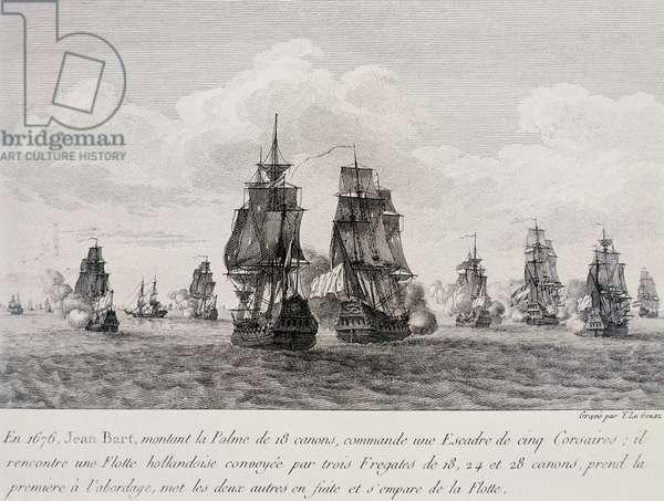 Jean Bart, French corsair, attacking Dutch fleet in 1676, engraving, 17th century